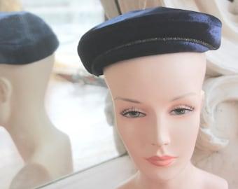 Vintage 1950s Blue Velvet / Faux Fur Cap with Rhinestones
