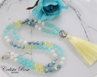 SALE!! Spring Summer Beaded Gemstone necklace Tassel Necklace Boho mala necklace Pastel Tassel necklace Gift for Her Bohemian Jewelry