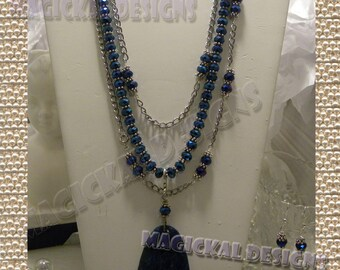 BLUE MIDNIGHT - Multiple Necklaces, Pendants, Earrings Set - multiple enhancers, stone pendant, chain, tassel, glass, crystal, royal blue