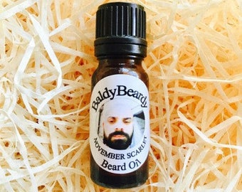 November Scarlet beard oil. A conditioning, moisturising oil with an aftershave type scent, soft, strong, healthy shiny beard - BaldyBeardy