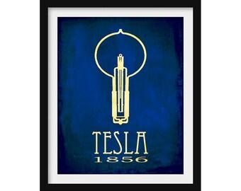 Nikola Tesla Poster, Science Gift, Rock Star Scientist Poster, Vintage Light Bulb Illustration, Teacher Gift, Computer Science, School Art