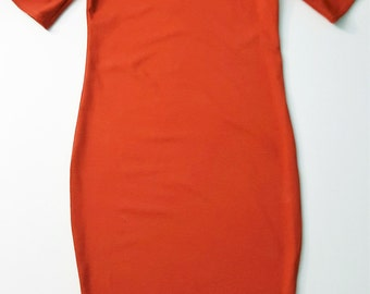 Burnt Orange Midi T Shirt Dress Women Small