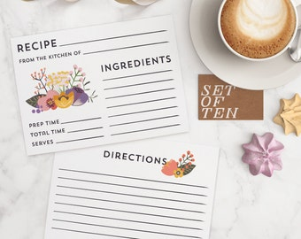 Recipe Card Set of 10   Floral   4x6 recipe card, cooking, kitchen, recipes, bridal shower, birthday, mothers day, gifts for her, grandma