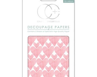 Paper patch (3 sheets) Pink Hearts - CCDECP0114