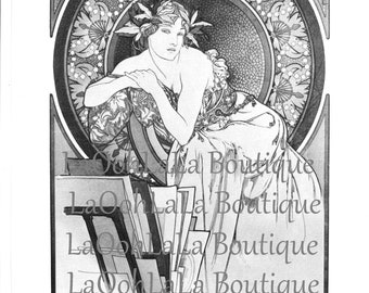 1898 Mucha Femme Digital Printable Art Nouveau Goddess Card Image Label Graphic Clipart Download Gypsy Bohemian Mythology Illustration Print