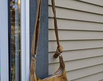 Sarah - a Recycled Soft Leather Messenger Bag in Light Brown Leather with Ruffles, Zipper and Adjustable Strap