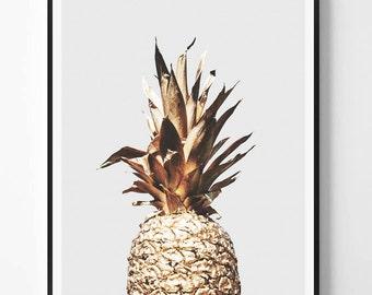 Gold Pineapple Print, Pineapple Photography, Minimal photo, Pineapple Wall Art, Photo, Minimalist Print, Scandinavian Printable Art, Modern