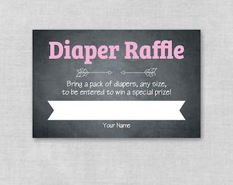 Printable Baby Shower Diaper Raffle Ticket, Diaper Raffle Card Invitation Insert, Pink Chalkboard, Baby Girl,