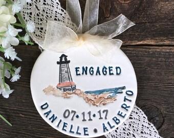 Engagement Ornament - Wedding Ornament, Lighthouse Proposal, Engagement Gift, Wedding Gift, Ceramic Ornament, Personalized Engagement Gift