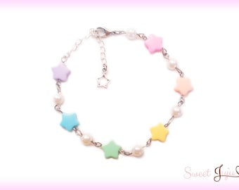 Rainbow Star Charm Bracelet - Kawaii Fairy Kei and Sweet Lolita Fashion Jewelry - Silver Chain White Glass Pearl and Colorful Acrylic Beads