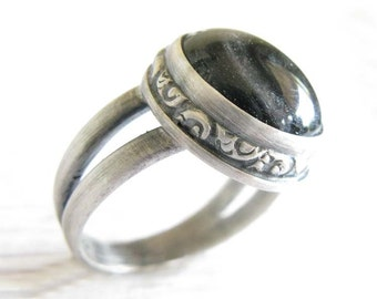 Cremation glass antiqued sterling silver Miracle ring. Memorial jewelry. Cross or heart cut out on bezel. Urn jewelry.  Ashes of your pet.