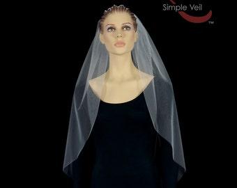 Hip Length Bridal Veil, Cut Edge, Simple Veil