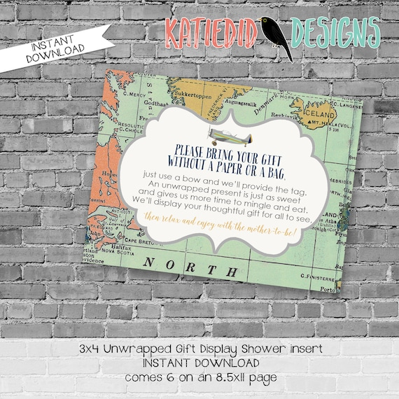 display shower insert   unwrapped gift enclosure card   vintage airplane baby shower   World Map   Adventure Awaits   co-ed   12124 Katiedid