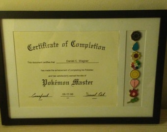 Framed Certificate of Completion Pokemon Master with gym badges