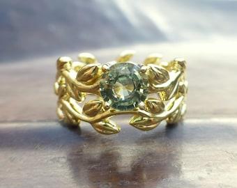 Leaf vine engagement ring set.  14k yellow gold leaf ring.  Green sapphire leaf engagement ring set.  Round green sapphire leaf ring set.