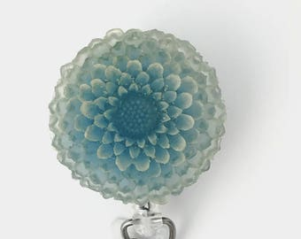 ID Badge Reel Blue Flower  Chrysanthemum  Resin Flower Cabochon on Retractable Badge Holder 356