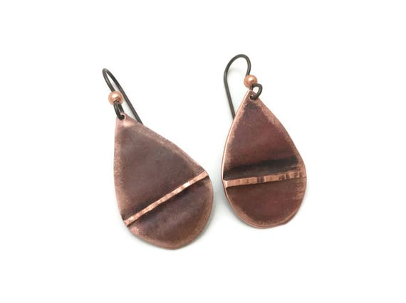 Copper teardrop earrings, abstract art, fold formed, geometric jewelry, rustic, primitive, made in michigan - coppersmith -renfest jewelry