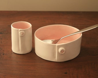 Pink and White Porcelain Baby Cup and Bowl