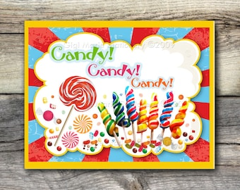 Circus  CARNIVAL CANDY LOLLIPOP Sign - 8x10 and 11 x 14 - Instant Download