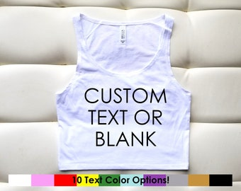 Custom Text or Blank XS/S White Cropped Tank   Fitted Cropped Tank   Gift for Her   Personalized Crop Top   Personalized Shirt   Custom Crop