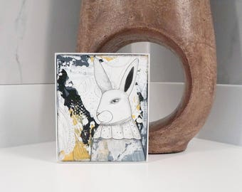 White Rabbit Wall Art- Bunny Rabbit Wall Art for Your Living Room , Original Painting