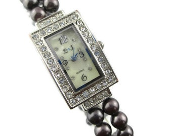LJ Oblong Rhinestone Face Brown Faux Pearl Mother of Pearl Dial Stretch Bracelet Japan Movement Quartz Watch