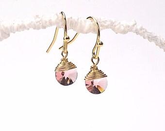 Light Amethyst Swarovski Disc Earrings. Amethyst Swarovski Disc Earrings. Amethyst Swarovski Earrings. Light Amethyst Earrings