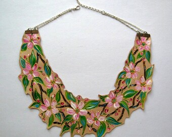 Leather necklace,hand painted necklace,hand made leather necklace,artistic necklace,Apple blossom