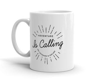 Outdoor Lovers Gift – Adventure is Calling White Coffee Mug – Camping Mug