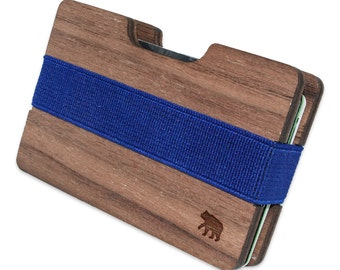 Brown Bear Slim Minimalist Wooden Wallet. Handmade And Laser Engraved. Made in the USA.