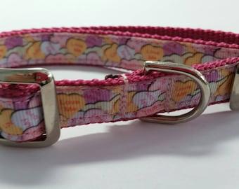 "3/4"" Metal Buckle Dog Collar, Candy Hearts Print"