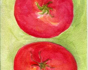 Watercolor painting  Tomatoes 4 x 6 original watercolor art, tomatoes illustration, original painting, kitchen decor, wall art