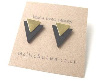 Triangle Earrings Geometric Earrings Stud Earrings Laser Cut Wood Geometric Jewellery Triangle Jewellery Gifts for her-stocking filler black
