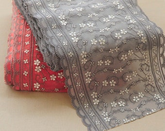 25cm Width Chinese Vintage Embroidery Plum Bloosom Flower Lace trim Red Gray fabric by yard