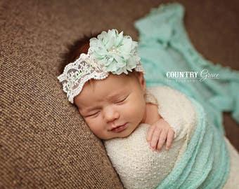 Newborn Mint Flower Headband...Baby Bows...Photography Prop...Mint...Newborn Prop...Newborn...Baby Headband...Little Girl Headband