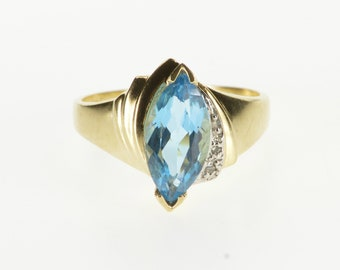 10K Marquise Blue Topaz Diamond Accent Freeform Ring Size 6.5 Yellow Gold