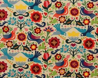 La Paloma Tea Laminate Fabric | Birds | Folklorico | Mexican | Floral | Folk Art | Off White | Plastic | Spanish | Alexander Henry