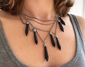 Vintage Black glass Asymmetrical necklace