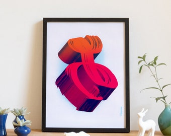 Screen printed poster, art print, neon abstract 3d