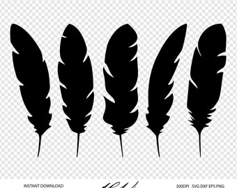 Feathers Digital Cut Files - Digital Files - Feather SVG - Feather DXF - Feathers EPS - Feather png - Vector - Clipart eps, svg, dxf, png