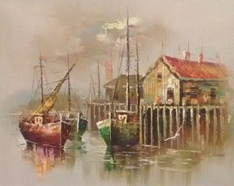 Harbour Scene Painting by Oster