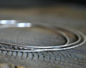 Sterling Silver Bangle Made by Three Chained Thin Bangles