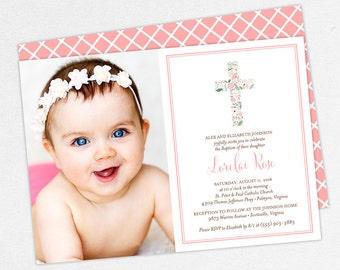 Photo Baptism Invitation, Christening Invitation, Girl Baptism Invitation, Printable Baptism, PDF, Watercolor, Floral Cross, Pink, Lorelai