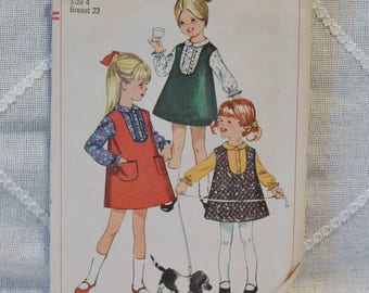 Vintage Simplicity 6660 Sewing Pattern Girl Child Jumper Blouse Size 4 Crafts  DIY Sewing Crafts PanchosPorch