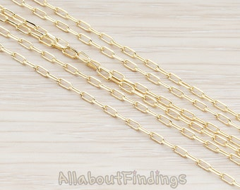 CHN017-G // Glossy Gold Plated Drawn Link Chain, 1 Meter.