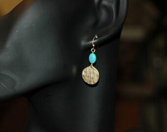 Dangle Earrings, Hammered Gold and Turquoise Earrings, short earrings, Gift for her