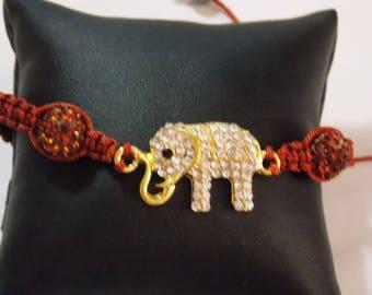 Shamballa elephant strass marron