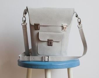 Leather shoulder Bag light grey-handmade