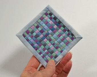Mini Quilt, Blue Quilt, Mini Mini Quilt, Fiber Art, Woven Quilt, Woven Mini Postcard