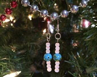 Pretty Speckled Blue and White Beaded Earrings ~ Robin's Egg Earrings ~